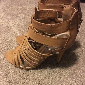 Tan gladiator heel sandal